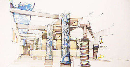 马克笔手绘效果展厅设计欣赏