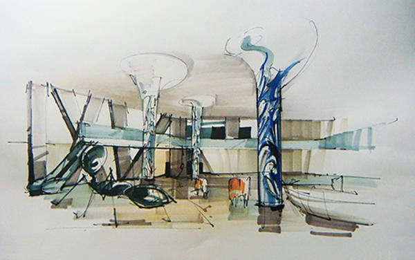 手绘展厅设计效果图欣赏